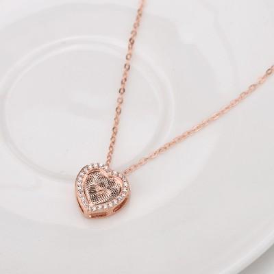 Or Rosé Coeur à Coeur S925 Argent Collier