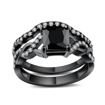 1/2 CT Coupe Princesse Noir Gemme Noir 925 Argent Sterling Ensembles de Bague de Mariage