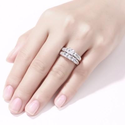 Coupe Princesse Saphir Blanc Femme 925 Argent Sterling Ensembles de Bague de Mariage