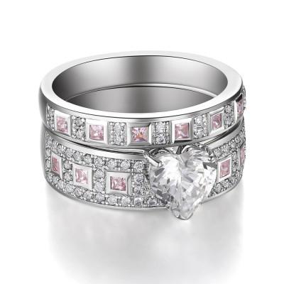 Coupe Coeur Saphir Rose 925 Argent Sterling Ensembles de Bague de Mariage