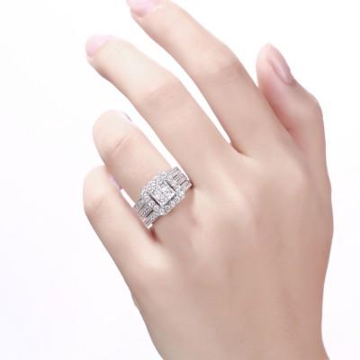 Femme Coupe Princesse Saphir Blanc 925 Argent Sterling Ensembles de Bague de Mariage