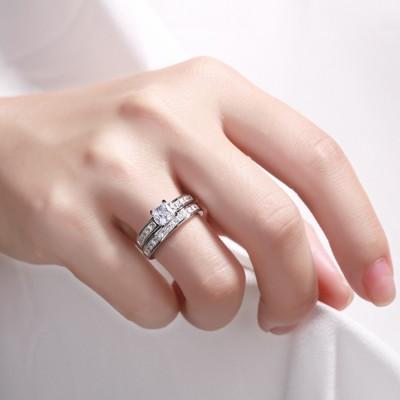 Coupe Princesse 925 Argent Sterling Saphir Blanc Ensembles de Bague de Mariage