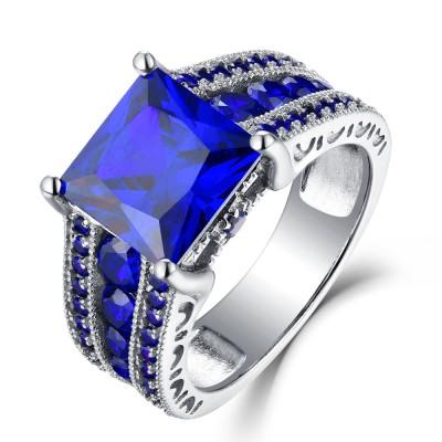 Coupe Princesse Saphir Bleu 925 Argent Sterling Bagues de Fiançailles