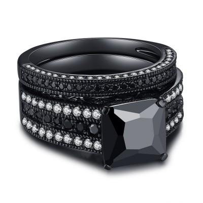 Noir 925 Argent Sterling Noir Coupe Princesse Ensembles de Bague de Mariage