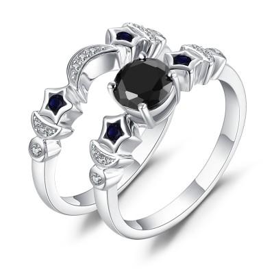 Lune et Étoile Saphir Noir 925 Argent Sterling Ensembles de Bague de Mariage