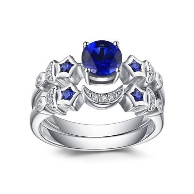 Lune et Étoile Saphir Bleu 925 Argent Sterling Ensembles de Bague de Mariage