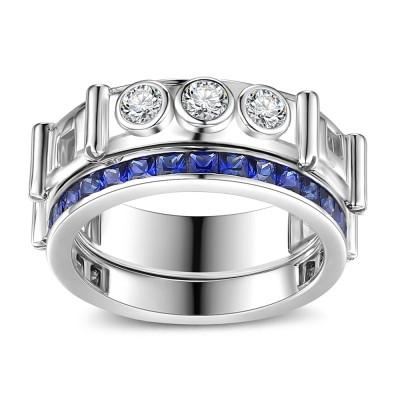 Coupe Princesse Saphir 925 Argent Sterling Ensembles de Bague de Mariage