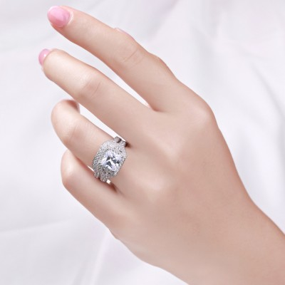 Coupe Princesse Saphir Blanc 925 Argent Sterling Ensemble de Bague Femme