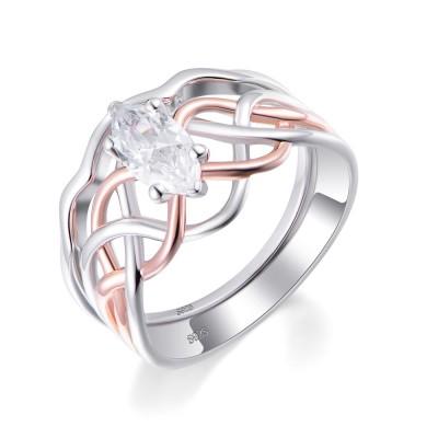 Coupe Marquise Saphir Blanc 925 Argent Sterling Ensemble de Bague de Mariage pour Femme