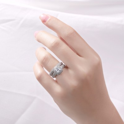 Coupe Princesse Saphir Blanc Argent Sterling Ensemble de Bague de Mariage pour Femme
