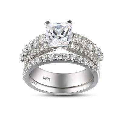 Coupe Princesse Saphir Blanc Argent Sterling Ensemble de Bague de Mariage Femme