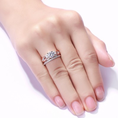 Coupe Ronde Saphir Blanc 925 Argent Sterling Or Rosé Ensembles de Bague