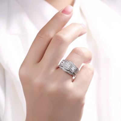 Coupe Princesse Saphir Blanc 925 Argent Sterling 3 Pièces Ensembles de Bague de Mariage