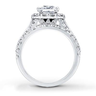 Coupe Princesse Saphir Blanc 925 Argent Sterling Halo Ensembles de Bague de Mariage
