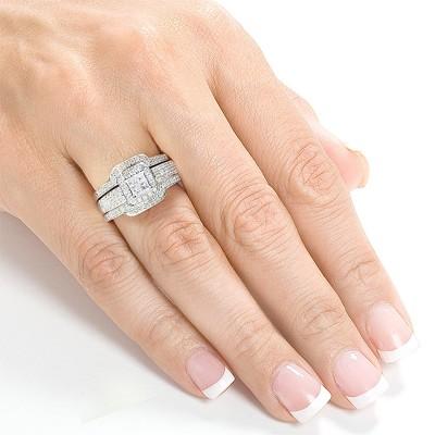 Coupe Princesse Saphir Blanc Argent Sterling 3 Pièces Halo Ensembles de Bague de Mariage