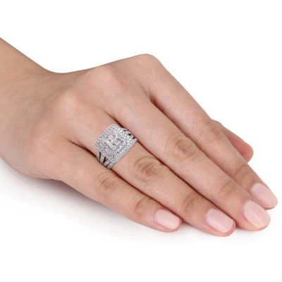 Coupe Princesse Saphir Blanc Argent Sterling Halo Ensembles de Bague de Mariage