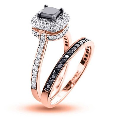 Or Rosé Coupe Princesse Saphir Noir Argent Sterling Halo Ensembles de Bague
