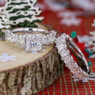 Coupe Princesse Saphir Blanc 925 Argent Sterling Ensembles de Bague