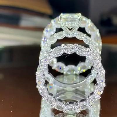 Coupe Princesse Saphir Blanc 925 Argent Sterling 3 Pièces Halo Ensembles de Bague de Mariage