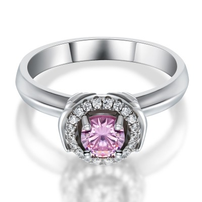 Coupe Ronde Saphir Rose 925 Argent Sterling Bague Cocktail