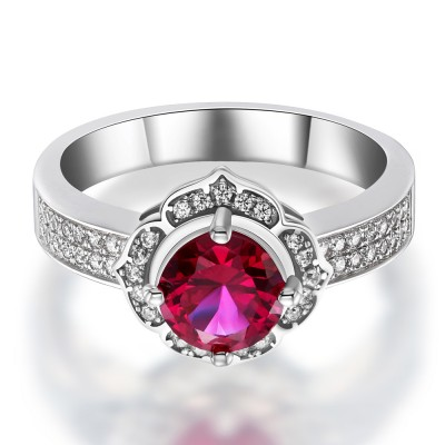 Coupe Ronde Rubis 925 Argent Sterling Bague Cocktail