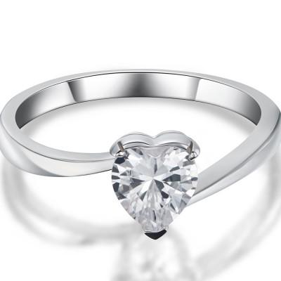 0.5CT Coupe Coeur Saphir Blanc 925 Argent Sterling Bagues de Promesse pour Elle
