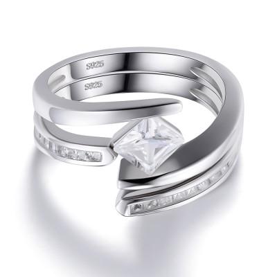Coupe Princesse Saphir Blanc 925 Argent Sterling Bague de Femme