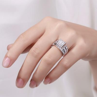 Coupe Princesse Saphir Blanc 925 Argent Sterling Bagues de Fiançailles