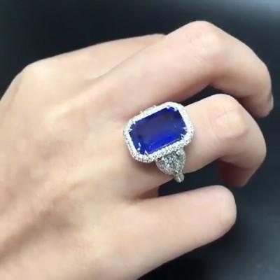 Coupe Émeraude Saphir Bleu Argent Sterling Halo Bague de Fiançailles