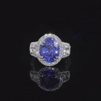 Coupe Ovale Saphir Bleu Argent Sterling Halo Bague de Fiançailles