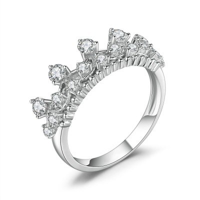 Couronne Coupe Ronde Gemme 925 Argent Sterling Bague Cocktail