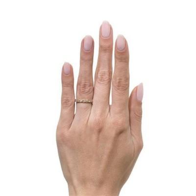 Or Rosé Coupe Ronde Saphir Blanc 925 Argent Sterling Éternité Alliances Femme