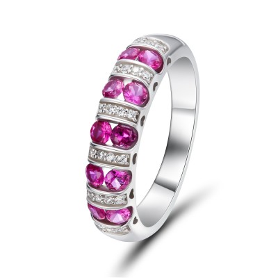 Coupe Ronde Rubis 925 Argent Sterling Alliances Femme
