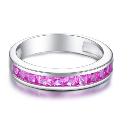Coupe Princesse Améthyste 925 Argent Sterling Alliances Femme