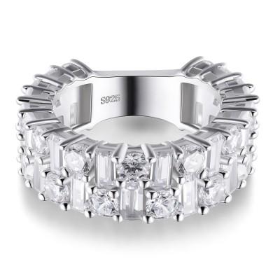 Coupe Radiant Saphir Blanc 925 Argent Sterling Alliances Femme