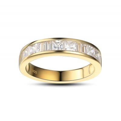 Coupe Princesse Saphir Blanc Or 925 Argent Sterling Alliances Femme