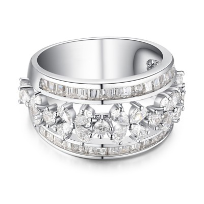 Coupe Ovale Saphir Blanc 925 Argent Sterling Alliances Femme