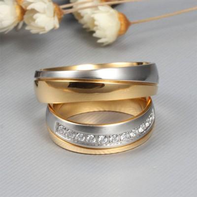 Élégant Or et Argent Acier au Titane Gemme Bague de Promesse pour les Couples