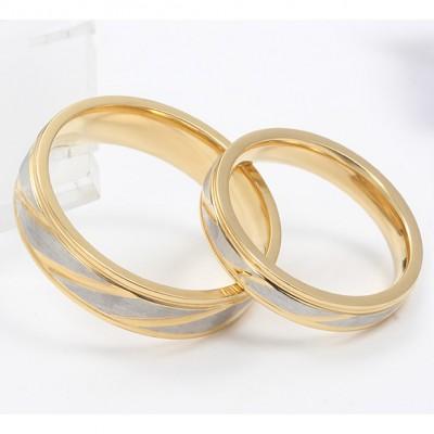 Or et Argent Acier au Titane Bague de Promesse pour les Couples