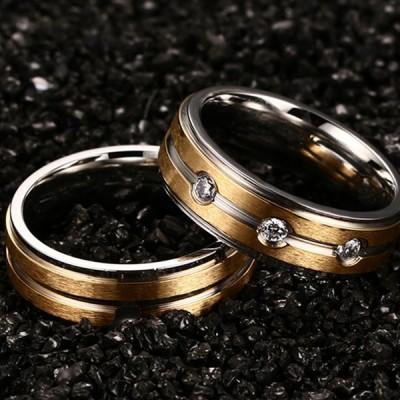 Élégant Or Acier au Titane Bague de Promesse pour les Couples