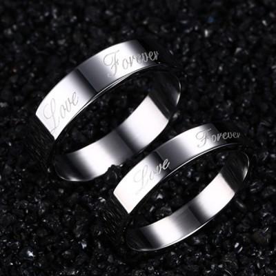 Amour Pour Toujours Argent Acier au Titane Bague de Promesse pour les Couples
