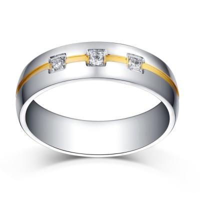 Coupe Princesse Gemme Argent et Or Acier au Titane Mariage/Bague de Fiançailles