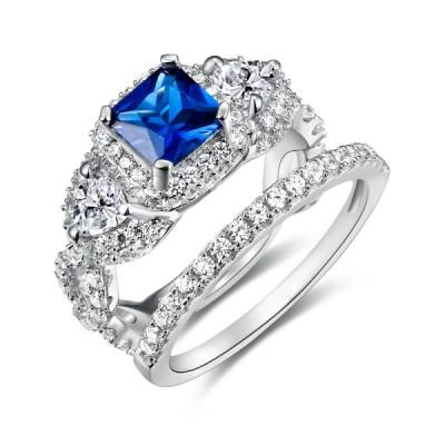 Coupe Princesse 925 Argent Sterling Saphir Bleu Ensembles de Bague de Mariage Femme