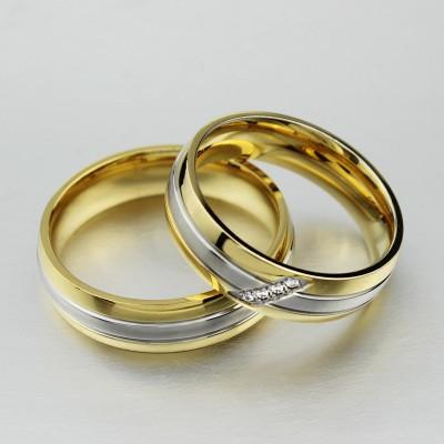 Coupe Ronde Saphir Blanc Or et Argent Acier au Titane Bagues de Promesse pour les Couples