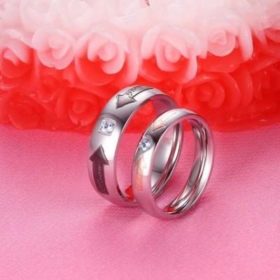 Acier au Titane Argent Or Rosé Noir Bagues de Promesse pour les Couples