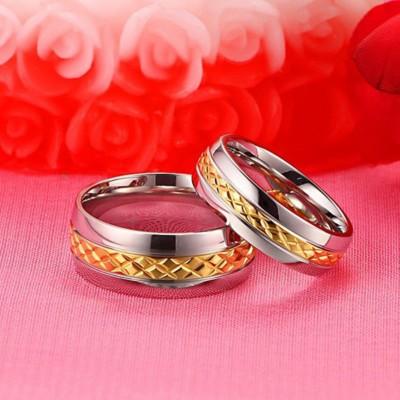 Or & Argent Acier au Titane Bagues de Promesse pour les Couples