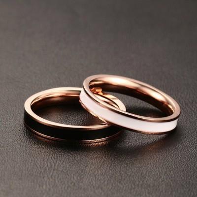 Noir & Blanc Or Rosé Acier au Titane Bagues de Promesse pour les Couples