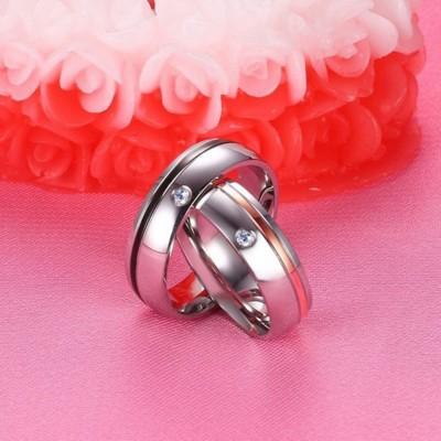 Noir & Or Rosé Argent Acier au Titane Bagues de Promesse pour les Couples