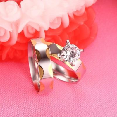 Acier au Titane Or & Argent Saphir Blanc Bagues de Promesse pour les Couples