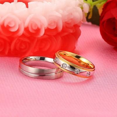 Or & Argent Saphir Blanc Acier au Titane Bagues de Promesse pour les Couples